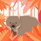 Flat geometric jungle background with Wombat