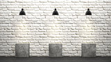 White brick wall with chandeliers