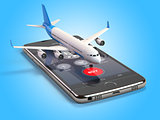 Airplane on the mobile phone. Internet online searching and buyi