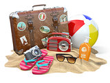 Beach accessories for relaxing. Sunscreen bottle, flip flops, su