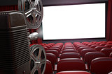 Movie projector and blank cinema screen with empty seats. Cinema