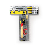 Letter T. Alphabet from the tools on the metal pegboard isolated