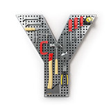 Letter Y. Alphabet from the tools on the metal pegboard isolated