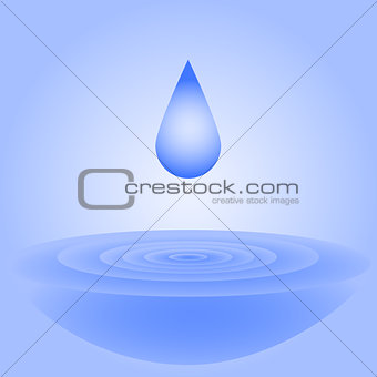 A drop of water falls and creates circles on the water for the d