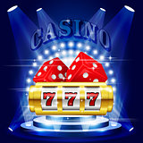 Big win or jackpot - 777 on slot machine, casino concert