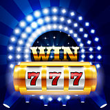 Jackpot - 777 on casino slot machine, big win and gambling conce