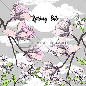 Background with magnolia and cherry blossom tree