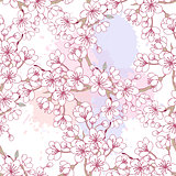 Seamless pattern with sakura. Hand drawn spring
