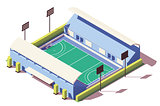 Vector isometric low poly field hockey stadium