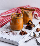 Caramel dessert Toffee in a glass jar