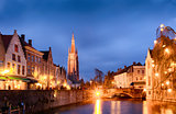 Bruges cityscapes during christmas with lights and blue skies, B