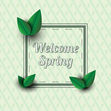 Welcome spring .Text in a frame with decor elements