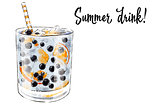 Colorfu hand-drawn illustration of delicious smoothie of fresh fruit. Fresh summer cocktail with blueberries and orange. Glass jar with ice cubes and a straw. Healthy beverage. Vitamin natural drink.
