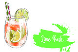 Colorfu hand-drawn illustration of delicious smoothie of fresh fruit. Fresh summer cocktail with lime and orange juice. Glass with ice cubes and a straw. Healthy beverage. Vitamin natural drink.
