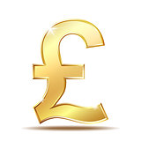 Shiny golden pound currency symbol.