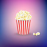 Carton bowl full of popcorn on colorful background. Flat vector illustration