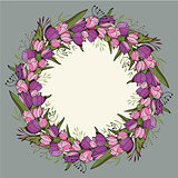 Round frame with tulips and herbs on white. Floral pattern for your wedding design, floral greeting cards, posters.