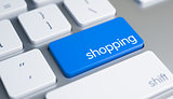 Shopping - Message on the Blue Keyboard Key. 3D.
