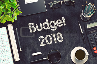Budget 2018 on Black Chalkboard. 3D Rendering.