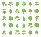 Flat trees icons