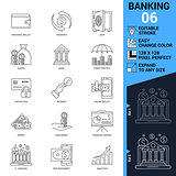 Banking icons set. Thin Line Vector Illustration