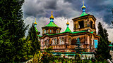The Russian Orthodox Holy Trinity Cathedral in Karakol Kyrgyzsta