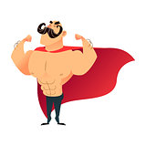 Strong cartoon funny superhero. Power super hero man with cape. Flat vector athlete character. Muscular brutal athletic guy with mustache. Strongman proudly shows his muscles in strong arms.