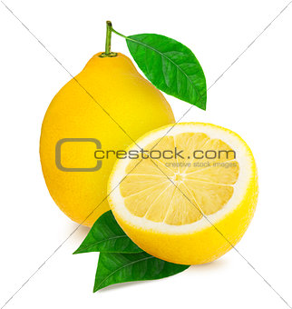 A lemon and a half of lemon citrus fruit isolated