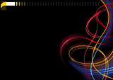 Abstract Colorful Glowing Lines on Black Background