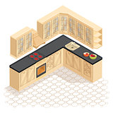 Isometric cartoon retro kitchen furniture icon. Vector.