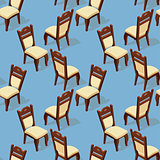 Seamless pattern of isometric cartoon chair. Front and back.
