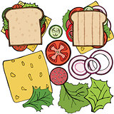 Set of ingredients for burger and sandwich . Sliced veggies, bun, cutlet. Vector illustration cartoon flat icon collection isolated on white.
