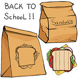 School lunch food boxes and sandwich , vector flat icons