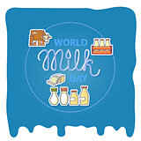 World milk day card with handwritten lettering and icons.