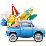 Vector Pickup Truck with Beach Accessories
