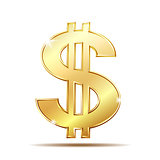 Golden dollar symbol with two vertical lines