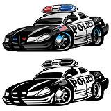 Police Muscle Car Cartoon Vector Illustration