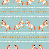 Circus horse tribal seamless vector blue pattern.