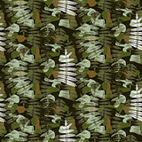 Fern leaves camouflage nature seamless pattern.