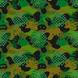 Camouflage spots and leaves green seamless vector pattern.