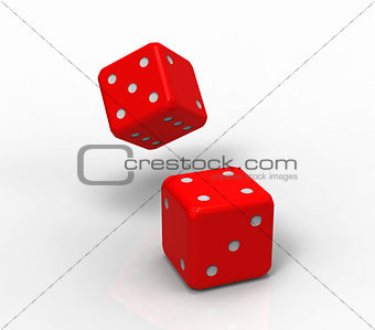 Two red dices, 3d rendering