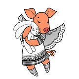 Lovely pig with wings in beautiful clothes with a plush rabbit in the paws.