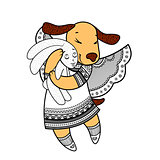 Lovely dog with wings in beautiful clothes with a plush rabbit in the paws.