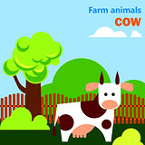 Educational flashcard with cow on the farm
