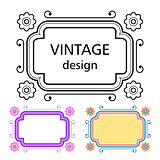 Set of vintage frames in a lineart style