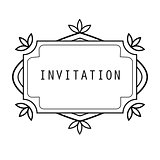 Vintage grayscale frame in a lineart style for invitation