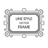 Vintage grayscale frame in a line style