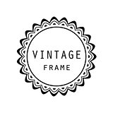 Vintage grayscale round frame in a lineart style