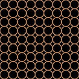 Modern repeating seamless pattern of repeat round shapes. Black and gold circle dot stylish texture. Geometric background. Vector illustration.