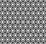 Modern repeating seamless pattern of repeat round shapes. Black and white circle dot stylish texture. Geometric background. Vector illustration.